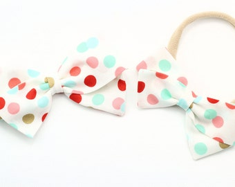 Polka Dot Bow - Pink, Aqua, Gold and white fabric bows - nylon headband and baby clips