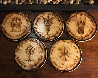 Lord of The Rings Coaster Set of 5,Handmade Wood Burned Laser Etched, LOTR