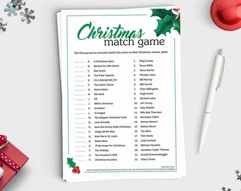 Christmas Movie Match Up Game - Instant Download - 5x7 Printable - Fun Christmas Party Game for Teens and Adults