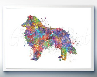 Collie Dog Watercolor Art Print  - Collie Watercolor Art Painting - Collie Dog Poster - Home Decor - House Warming Gift