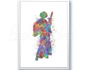 Star Wars Princess Leia Watercolor Art Silhouette Poster Print - Wall Decor - Watercolor Painting - Home Decor - Kids Decor