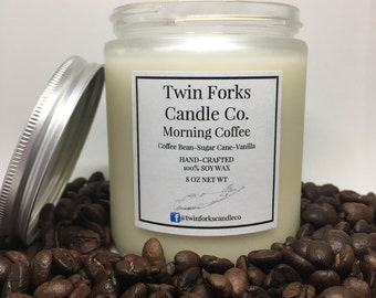 Soy Candle 8oz Fresh Coffee Travel Jar Home Scent Candle Fresh Scent
