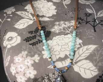 Leather strap crystal necklace