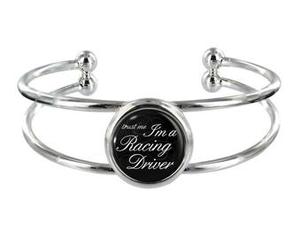 Trust Me I'm A Racing Driver On Silver Plated Bangle in Organza Gift Bag