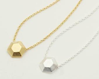 Dimensional Hexagon Necklace / geometric hexagon necklace, hexagon charm, geometric jewelry / N0-75