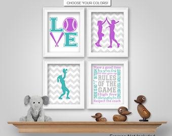 prints or canvas or printable digital download softball wall art softball bedroom wall decor