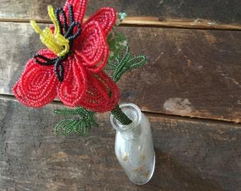 Glass Beaded Red flower Vintage