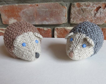 Soft Brown / Grey Hand Knitted Hedgehog