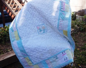 "READY TO SHIP! Vintage Chenille Baby Quilt/Throw, Aqua/White/Multi 52x41, Cotton Flannel Backing, Gender Neutral.  ""WindowPanes"""