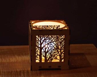 Laser Cut Wood Votive Candle Holder - Forest