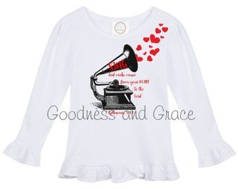 Sing and Make Music from Your Heart to the Lord - Vintage Heart Ruffle Shirt - Ephesians 5:19 Bible Verse - Love Valentine's Day Monogram