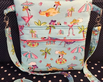 Summer Flamingos Cross Body Sling Tote