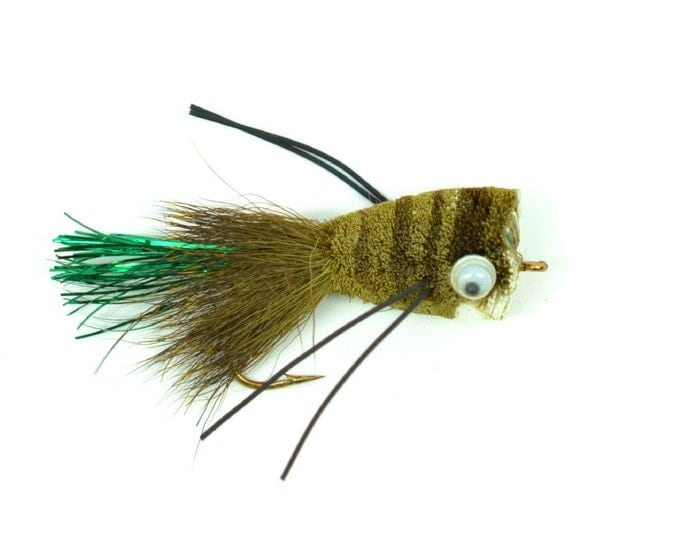 Bass Fly Fishing Bug: Deer Hair Popper Olive  - Hook Size 8 - Premium Wide Gape Bass Hooks With Weed Guard