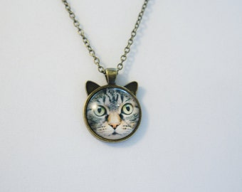 Lovely CAT with bronze glass cabochon pendant, Cute Necklace, Cat pendant, cat necklace, necklace for kids