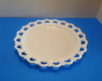 Vintage Anchor Hocking Milk Glass Open Hearts Lace Cake Platter