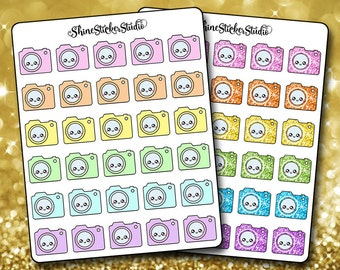 Cute Kawaii Camera Icon Stickers - Planner Stickers Erin Condren Life Planner Film Record Video Stickers ECLP Stickers Happy Planner