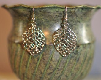 Gold Leaf Earrings, Leaf Earrings, Gold Earrings