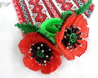 Beaded jewelry Flower bead Poppies beaded Red poppies Poppies scrunchie Poppies handmade Ukrainian Ukrainian embroidery Beading