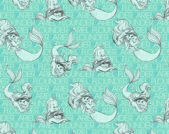 Stretchy Disney The little mermaid Cotton Knit fabric