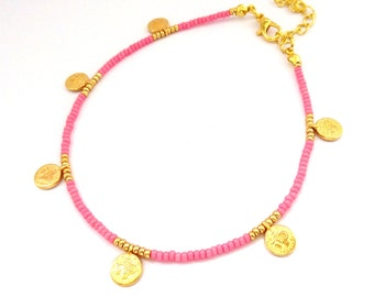 Bohemian coin anklet bracelet, beach anklet, pink beaded anklet, dainty delicate anklet, minimalist jewelry, tiny coins jewelry, boho anklet