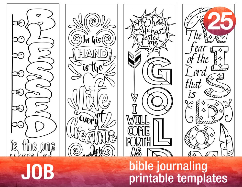 Job 4 bible journaling printable templates illustrated for Religious bookmark templates