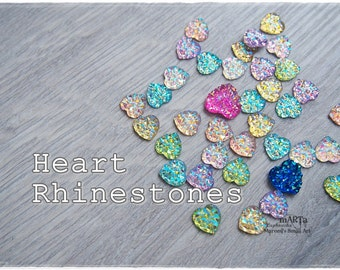 Set of 37 Mixed Rhinestones, cabochon, gems, scrapbooking embellishments, cardmaking, for cards, resins, shine, clear, blue, pink, heart