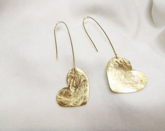 Handmade earrings with gilded hearts