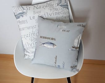 Marine blue and grey Cushion cover