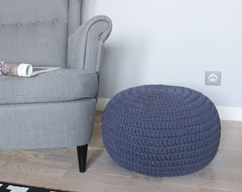 READY TO SHIP! Graphite Knitting Pouf | Bean bag | Footrest ball Knit | Crochet Pouf Poof | Ottoman | Footstool | Floor cushion | Floor Puff