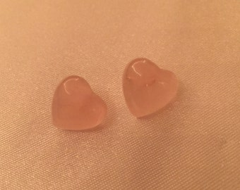 Pink Rose Quartz Heart Earrings