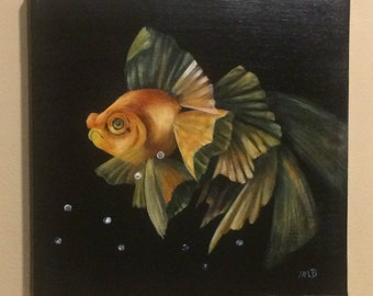 Colorful goldfish on black background, orange, yellow, green, art and collectibles, wall art, home decor, acrylic painting