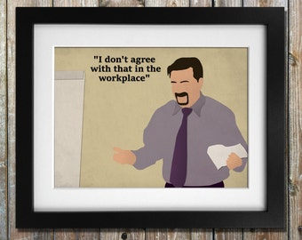 """David Brent Minimalist Art Print  """"I don't agree with that in the workplace"""""""