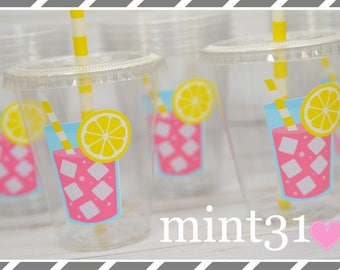 Set of 10 or 20-Pink Lemonade Birthday Party Cups, Lids & Straws, Favor Cups, Snack Cups, Ice Cream Cups