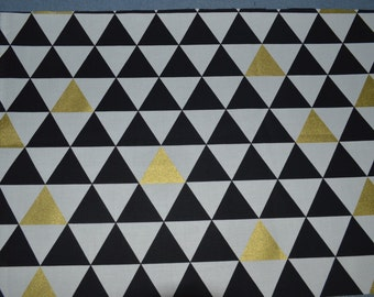Black White Gold Triangle Fabric, Metallic Gold Cotton Fabric, Triangle Apparel Fabric, Gold Quilting Fabric