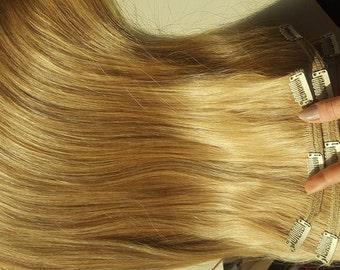 "Clip in extension,remy hair,european hair,Weft hair,22"",150 gram, High quality,Light blonde,Blond"