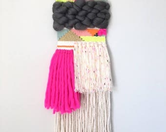 Neon Peony Wall Hanging // Weaving // Boho Style // Fiber Art // Tapestry
