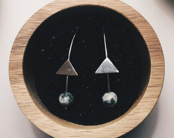Sterling silver triangle and Jasper Drops
