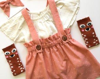 Girls Antique Coral Suspender Skirt, Vintage Style Jumper, High Waisted, Toddler Spring Skirt, Easter Skirt, School Girl, custom, sisters