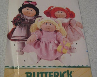 "Cabbage Patch Dolls Clothes 1986  Pattern/Butterick 3659  UNCUT for 16"" Doll with Ironon Transfer"
