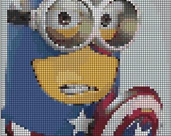 Minions-Captain America-Cross Stitch pattern in pdf