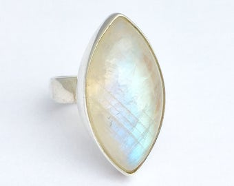 Rainbow moonstone ring, large moonstone ring, statement ring
