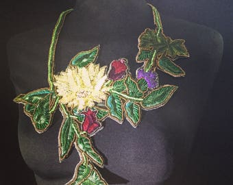 Colana fabric embroidered flowers