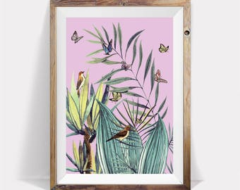 Tropical Wall Poster,Pink Tropical Poster,Tropical Large Art,Tropical Leaves,Tropical Plant,Tropical Prints,Tropical Modern Art,Leaves