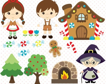 Hansel and Gretel clipart, Fairy tale vector - Commercial use -  C019