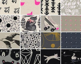 Cotton + Steel Black & White 2017 Complete Collection Fat Quarter Bundle 16 pcs, Gender Neutral Fabric,  Modern Quilt, Modern Fabric