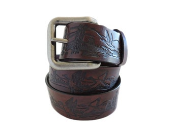 Mahogany Leather Belt with Duck Emboss