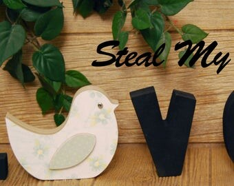 "Bird: DIY Unfinished Spring & Summer Decoration ""O"" Insert - Craft for ""H M E"", ""L V E"" or ""WELCME"" Interchangeable Letter Set"