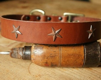 "Handmade leather dog collar made in France Urban Cam ""The 271 mahogany"""