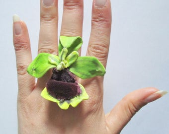 ring orchid flower painting and botanical handmade silk and velvet jewel
