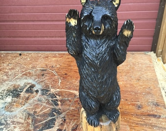 Black Bear Chainsaw Carving FREE SHIPPING